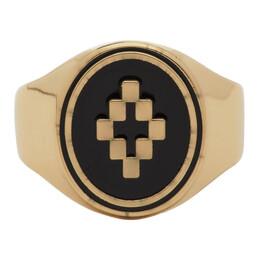 Marcelo Burlon County Of Milan Gold and Black Cross Ring CMOC001S20MET0017610