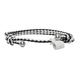 Bottega Veneta Black and White Slim Intrecciato Bracelet 612980 V395B