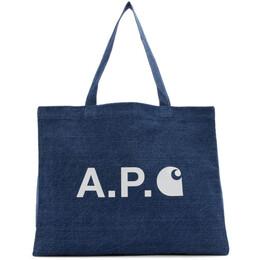A.P.C. Indigo Carhartt WIP Edition Shopping Tote SHOPPING CARHARTT