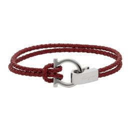 Salvatore Ferragamo Red Woven Double Gancini Bracelet 773555 0687893