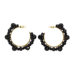 Simone Rocha Black Crystal Large Daisy Hoop Earrings ERG165 0903 CRYSTAL