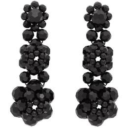 Simone Rocha Black Three Tier Earrings ERG49 0903 CRYSTAL
