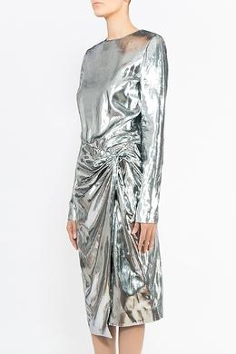 Серебристое платье с драпировкой Saint Laurent 1531182206