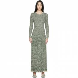 Christopher Esber Green and White Deconstruct Long Sleeve Dress RST20KN08