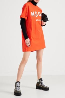 Оранжевое платье-футболка с логотипом MSGM 296181728