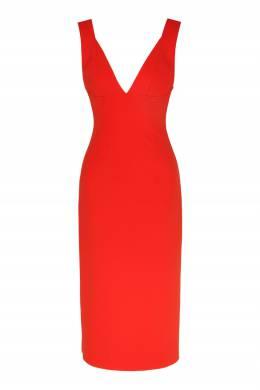 Красное платье-футляр с декольте Victoria Beckham 212183102
