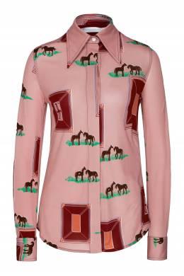 Блуза оверсайз из шелкового твила с принтом Victoria Beckham 212183105