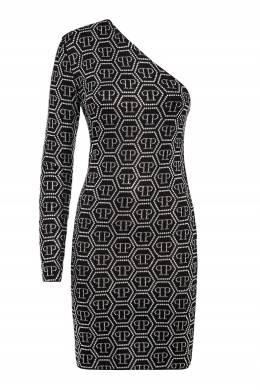 Черное мини-платье с открытым плечом Philipp Plein 1795182929