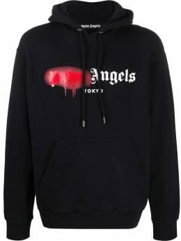Palm Angels logo spray print hoodie PMBB003S206360531020