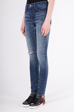 Синие джинсы с потертостями Saint Laurent 1531182364