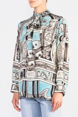 Рубашка из ткани с принтом Gucci 470182565