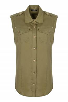 Блуза с карманами и золотистыми пуговицами Balmain 88183222