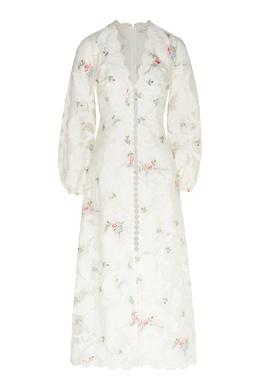 Платье миди с цветочным принтом и аппликациями Zinnia Zimmermann 1411183127