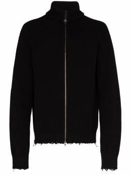 Ann Demeulemeester frayed zip-up cotton cardigan 20014016255