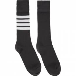 Thom Browne Grey 4-Bar Mid-Calf Socks FAS020B-01690