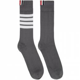 Thom Browne Grey 4-Bar Mid-Calf Socks MAS023B-01690