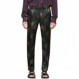 Dries Van Noten Black and Multicolor Floral Perkino Trousers 20926-9079-900