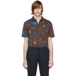 Dries Van Noten Blue and Brown Hadler Polo 21112-9601-976