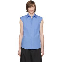 Dries Van Noten Blue Sleeveless Shoulder Pad Shirt 20712-9018-502