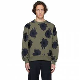 Dries Van Noten Khaki and Navy Embroidered Hefel Sweatshirt 21143-9615-606