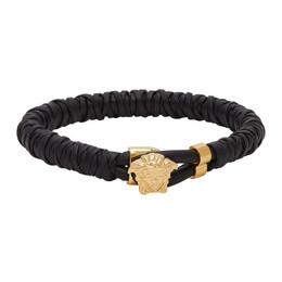 Versace Black Twisted Leather Bracelet DG06691 DMTN