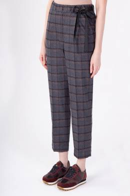 Коричневые клетчатые брюки Brunello Cucinelli 1675183711