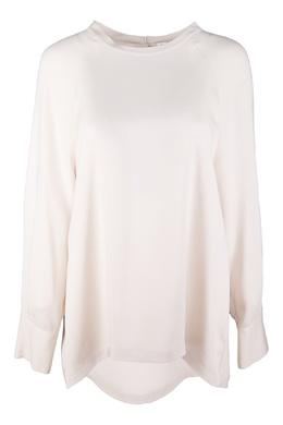Кремовая блуза без воротника Brunello Cucinelli 1675183699