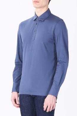 Голубое поло с длинными рукавами Brunello Cucinelli 1675183724
