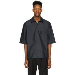 3.1 Phillip Lim Black Oversized Chintz Poplin Polo Shirt S201-2342CTZM