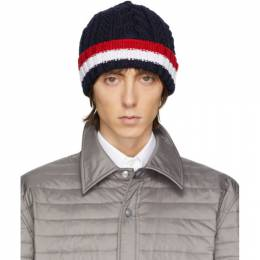 Thom Browne Navy Aran Cable RWB Hat MKH056A-00014