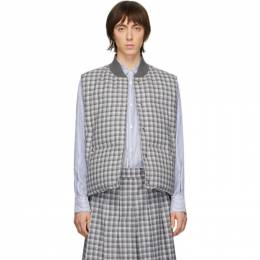 Thom Browne Grey Down Buffalo Check Vest MVD015X-06135