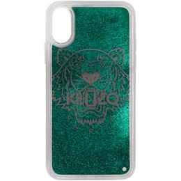 Kenzo Green Glitter Tiger Head iPhone X/XS Case FA5COKIFXTLI