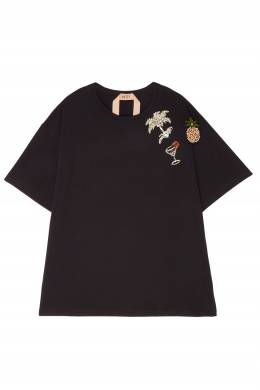 Черная футболка с блестящими аппликациями No. 21 35106915