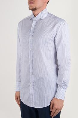 Голубая рубашка с узором в полоску Brunello Cucinelli 1675183980