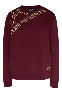 Бордовый свитшот с логотипом Emporio Armani 2706183926