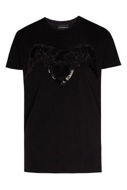 Черная футболка с пайетками Emporio Armani 2706183887