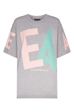 Серая футболка с крупным логотипом Emporio Armani 2706183941