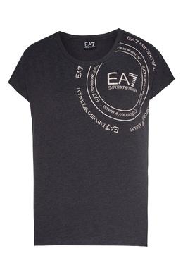 Серая футболка с принтом Emporio Armani 2706183923