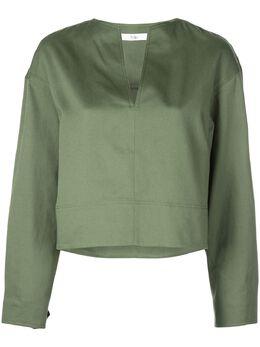 Tibi укороченная блузка с разрезом на воротнике R319HC7429