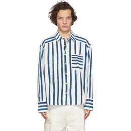 Jacquemus White and Blue La Chemise Peinture Shirt 205SH12-205 2435T