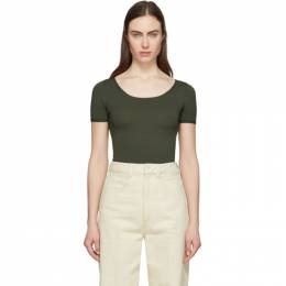 Lemaire Green Second Skin Short Sleeve Pullover W 201 KN438 LK093