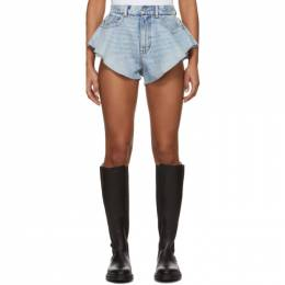 Alexander Wang Blue Denim Ruffled Shorts 4DC1204638