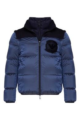 Голубой пуховик с логотипом Emporio Armani 2706184044