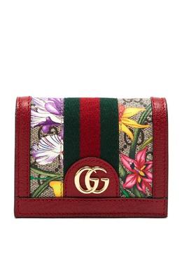 Красный кошелек GG Supreme Flora Ophidia Gucci 470183836