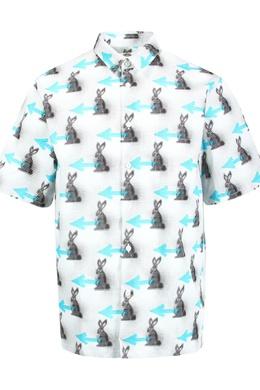 Белая рубашка с цветным узором Prada 40183284