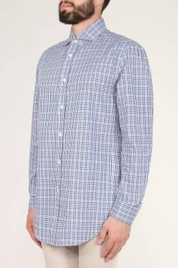 Синяя клетчатая рубашка Brunello Cucinelli 1675184175