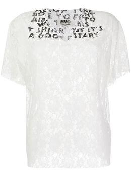 Mm6 Maison Margiela кружевная футболка AIDS с V-образным вырезом S32GC0556S52750