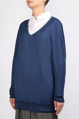Синий джемпер со спущенными рукавами Lorena Antoniazzi 2136183463