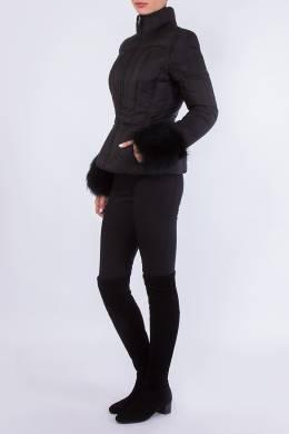 Черная куртка с меховой отделкой Prada 40183360