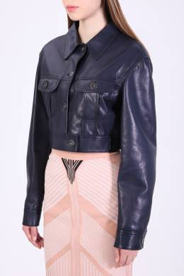 Темно–синяя кожаная куртка Prada 40183456